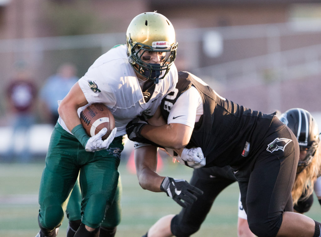 Snow Canyon's Chris Poulsen (6) and Pine View's Brooks Maile (90), Pine View vs. Snow Canyon, Football, St. George, Utah, Sept. 23, 2016, | Photo by Todd Ellis, St. George News