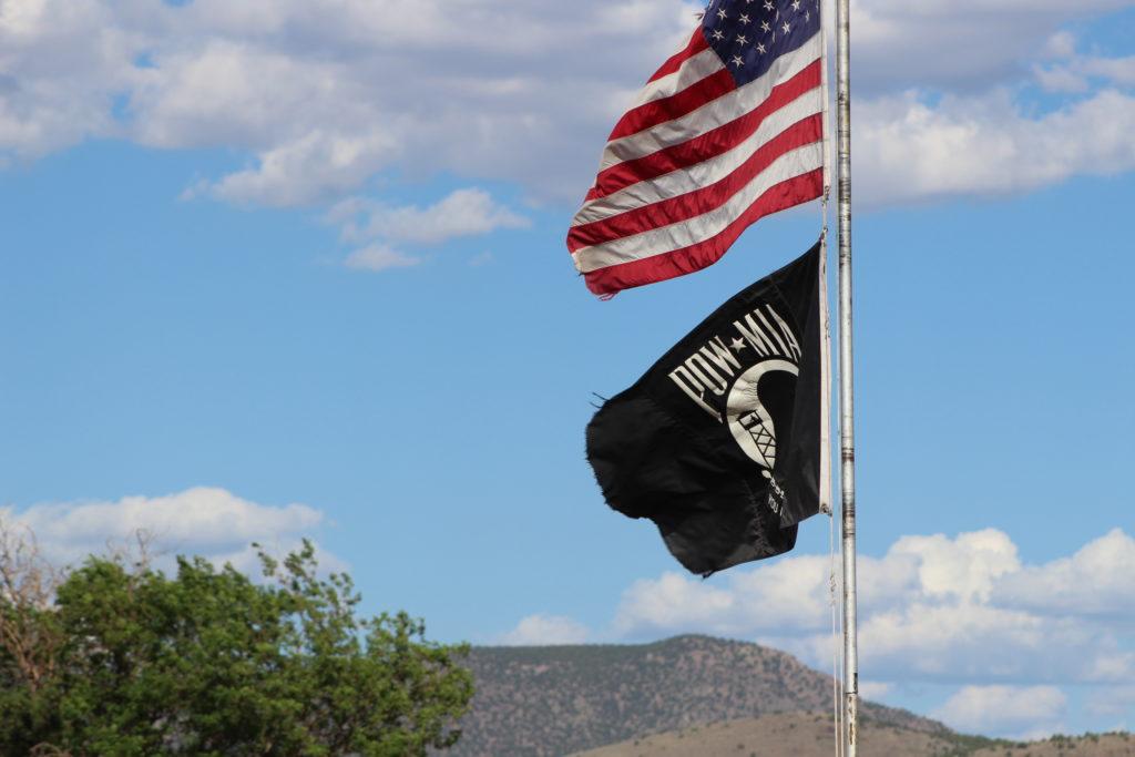 American flag PIO-MIA flag Iron County farm