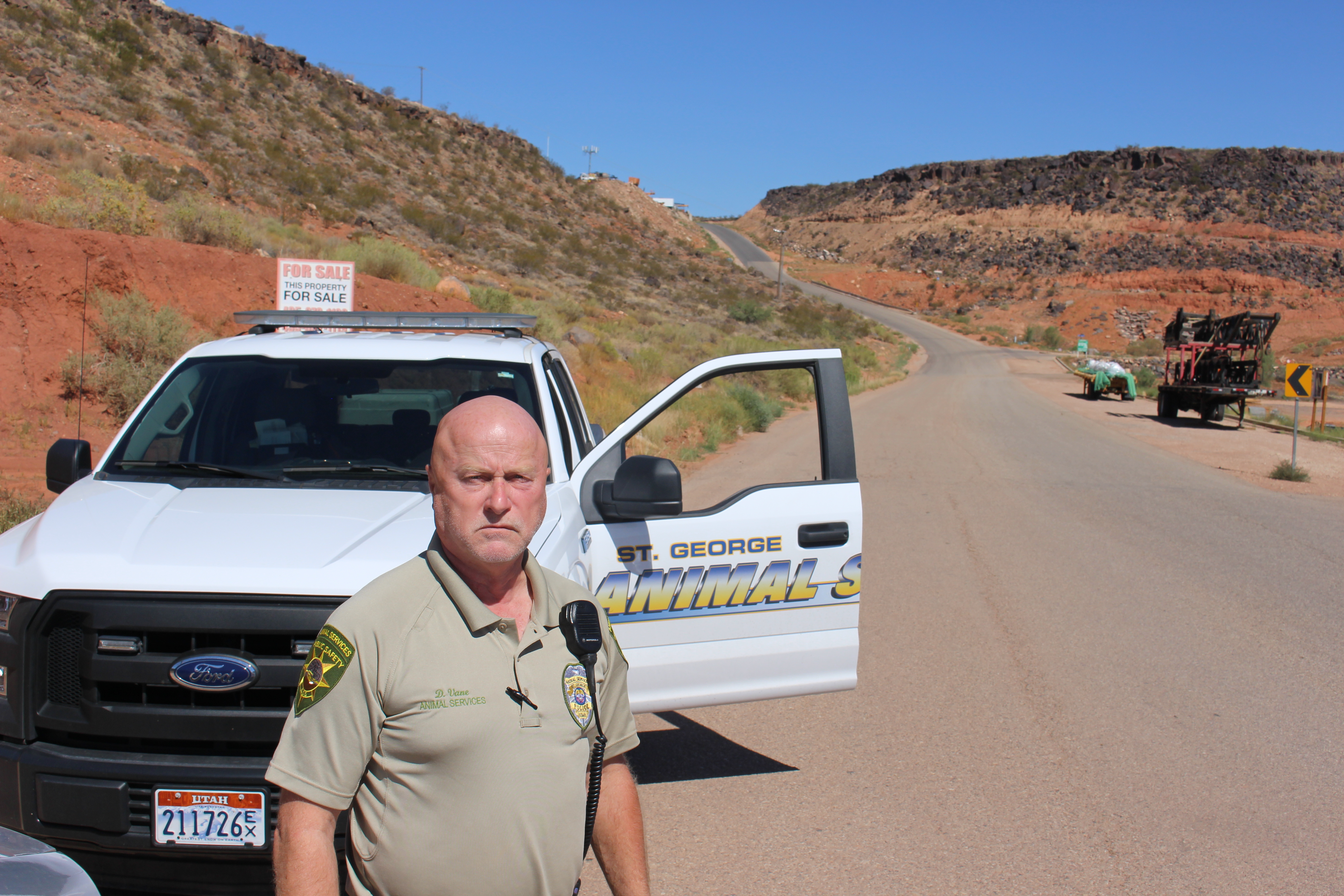St. George Animal Control officer David Vane after capturing a porcupine and releasing it back into the wild out Turkey Farm Road. St. George, Utah, Sept. 4, 2016 | Photo by Ric Wayman, St. George News