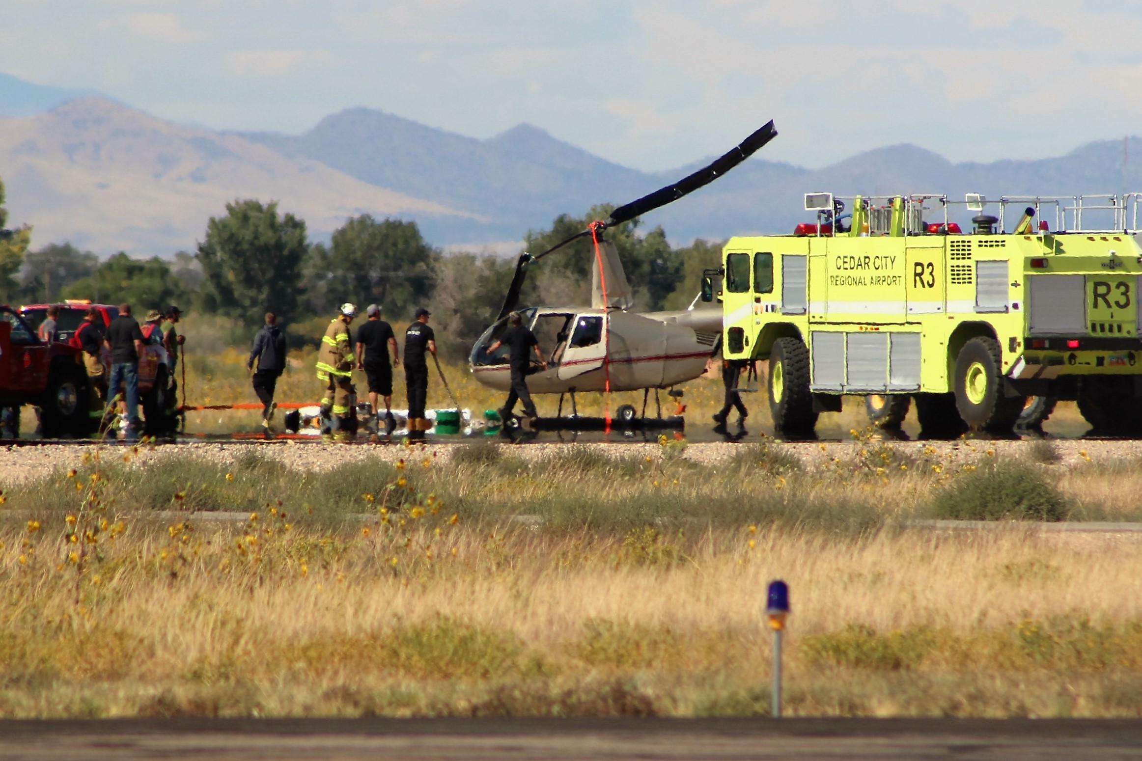 A helicopter crashed at Cedar City Airport Wednesday. Cedar City, Utah, Sept. 14, 2016 | Photo by Tracie Sullivan, St. George News