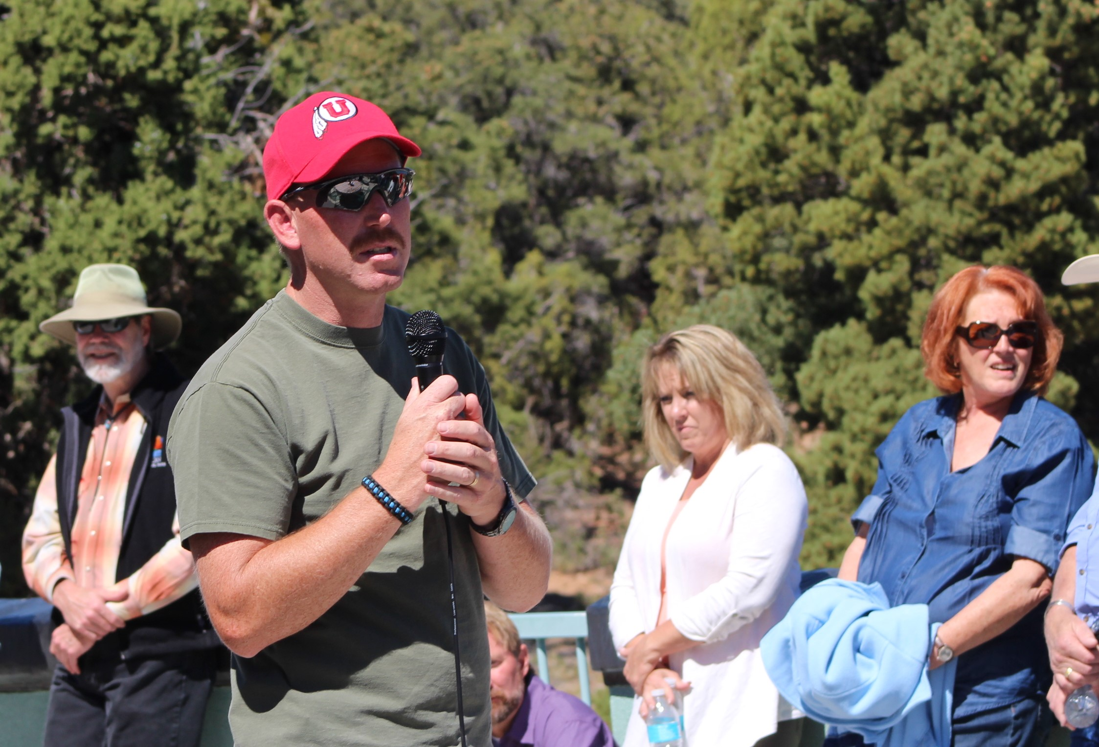 Iron County Sheriff Lt. Del Schlosser speaks to potential donors about the importance of police K-9s during a fundraising event Saturday, Iron County, Utah Sept. 18, 2016   Photo by Tracie Sullivan, St. George / Cedar City News