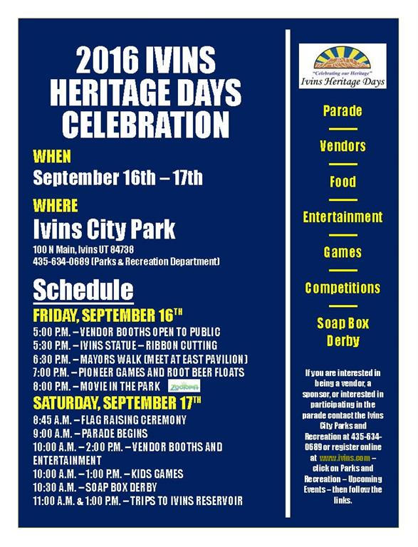 Heritage Days Schedule | Image courtesy of Ivins City, St. George News