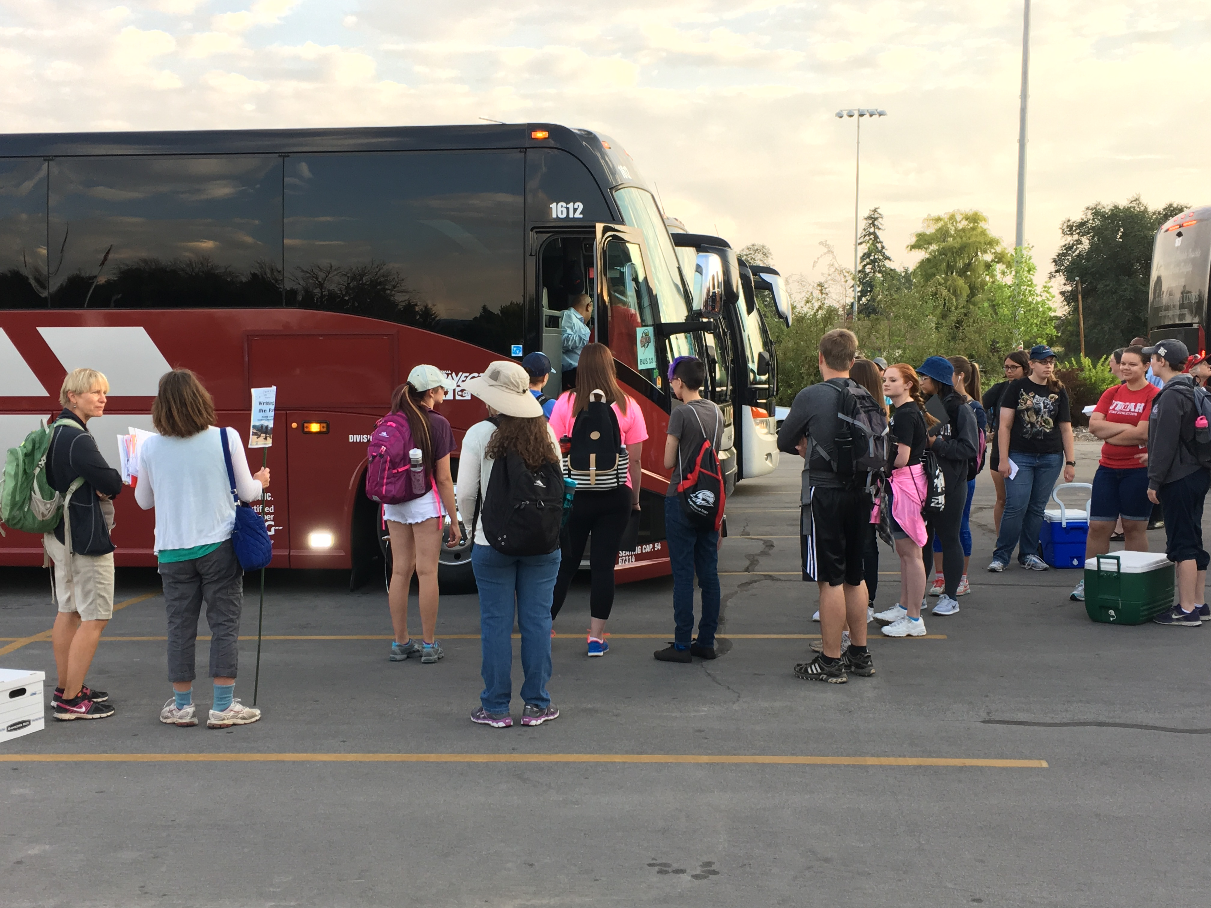 SUU students loading busses for SUU Parks Day, August 25, 2016 | Photo courtesy of Southern Utah University, St. George News, Cedar City News