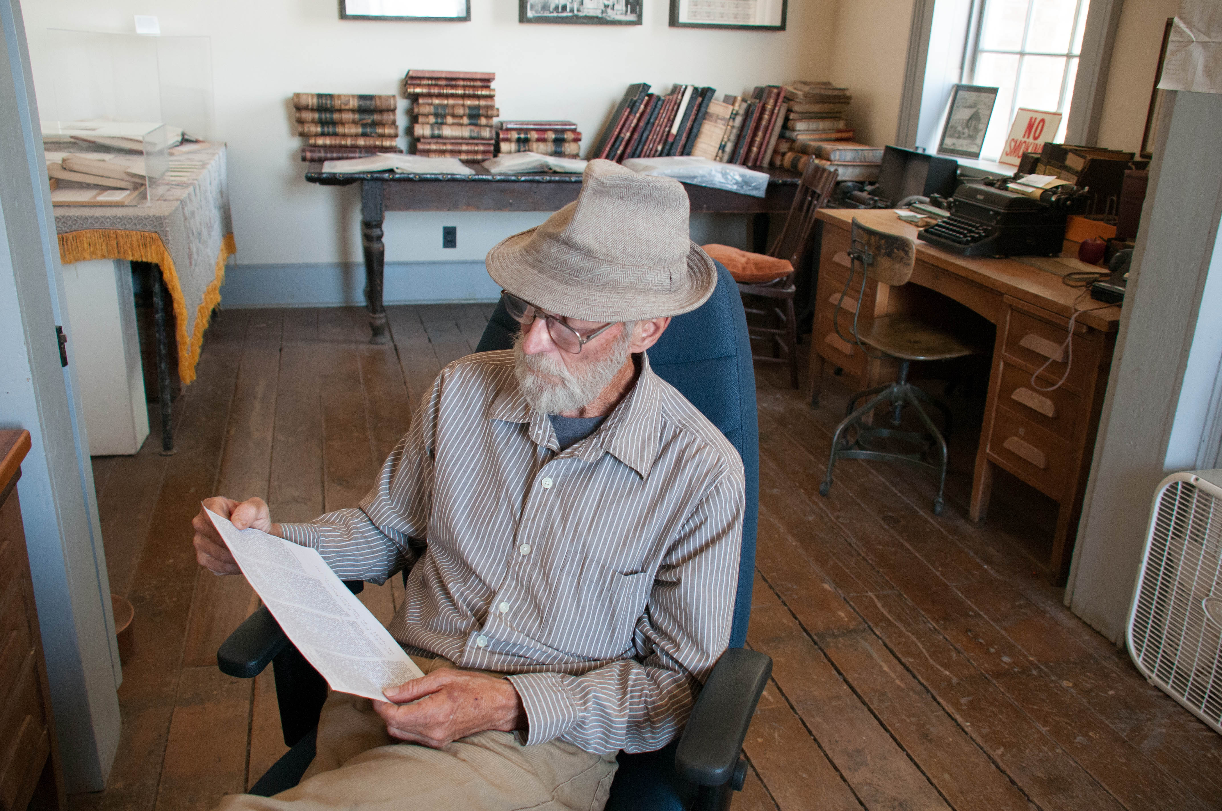 "Louis Benezet, tour guide at ""Million Dollar Courthouse,"" Pioche, Nevada, July 2016 