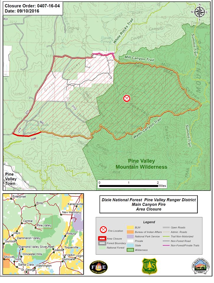 A map marking the location of the Main Fire in the Pine Valley Mountain wilderness, Washington County, Utah, Sept. 12, 2016 | Photo courtesy of the U.S. Forest Service, St. George News