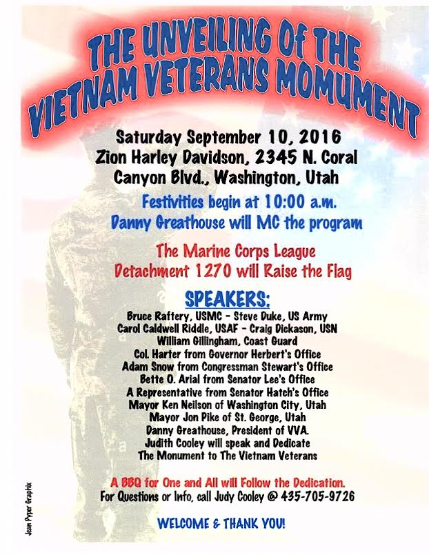 Agenda for the Vietnam Veterans Monument Dedication, location and date not specified | Image courtesy of Judith Cooley, St. George News