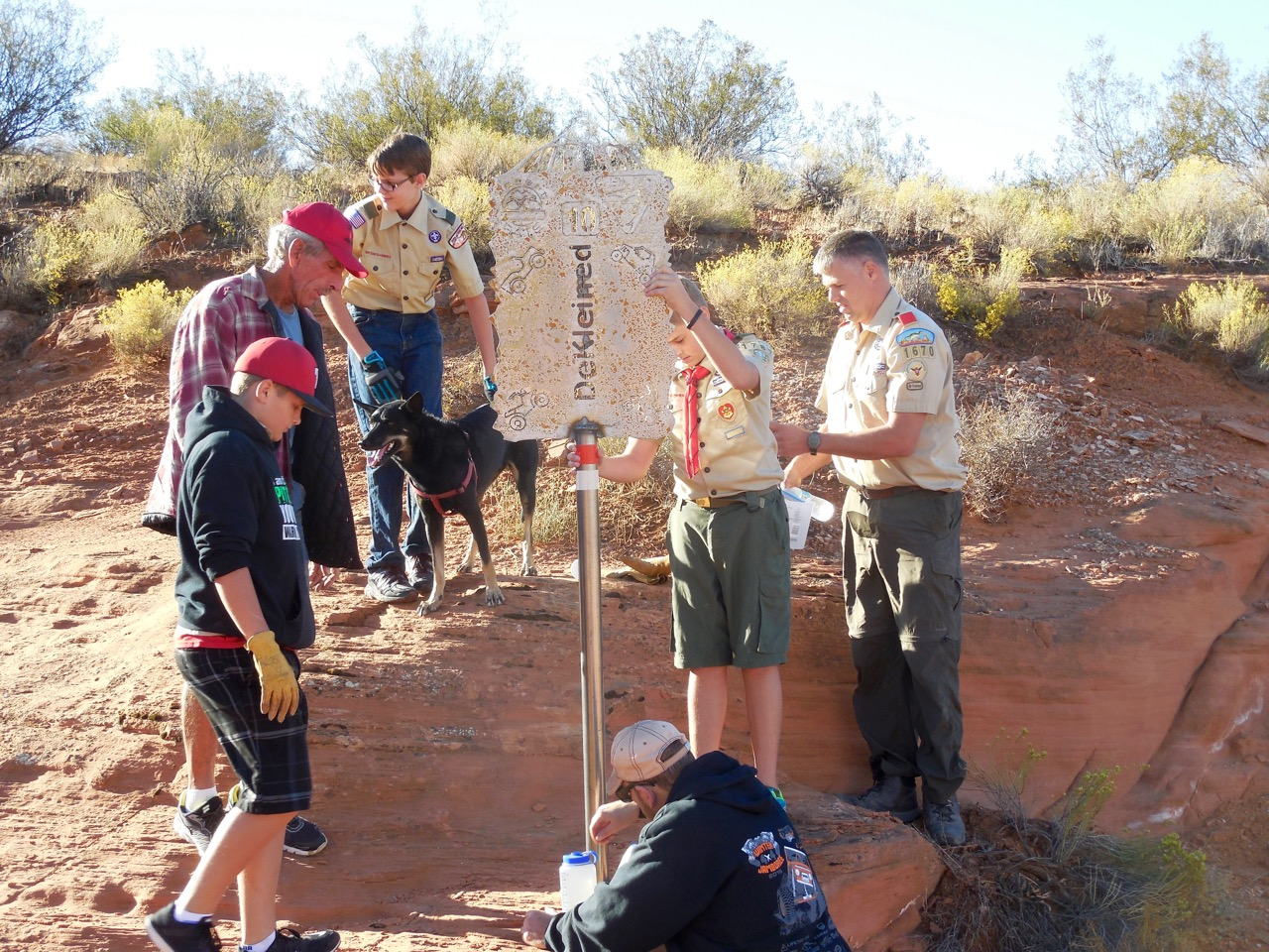 Boy scouts are among the volunteers for a National Public Lands Day project aiming to make Sand Mountain cleaner, safer and easier to navigate, Hurricane, Utah, Sept. 24, 2016   Photo courtesy of Desert Roads and Trails Society – Desert RATS, St. George News