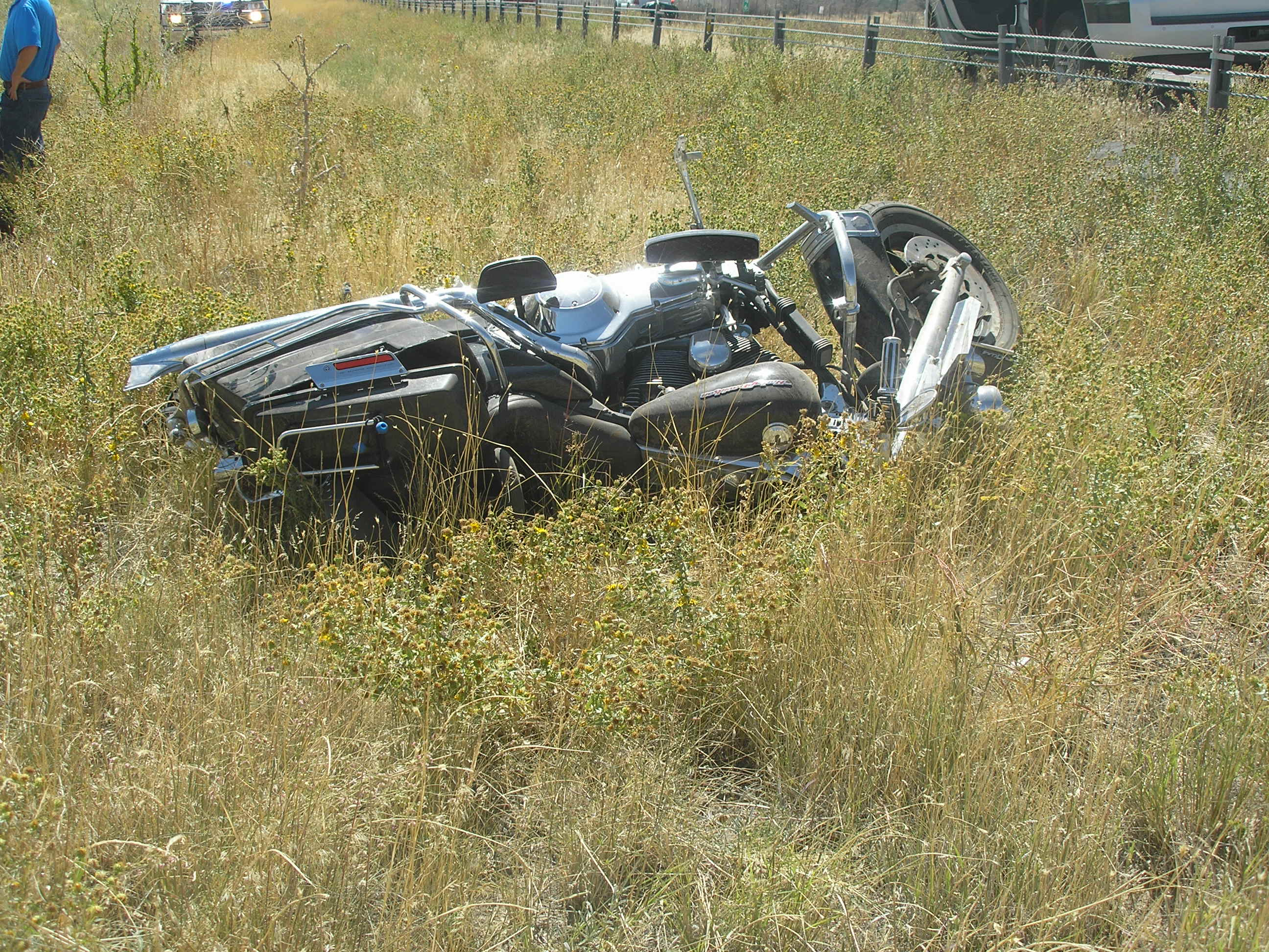 A Nevada man died Monday after his motorcycle swerved into the Interstate median and rolled, Kanarraville, Utah, Sept. 12, 2016   Photo courtesy of Utah Highway Patrol, St. George / Cedar City News
