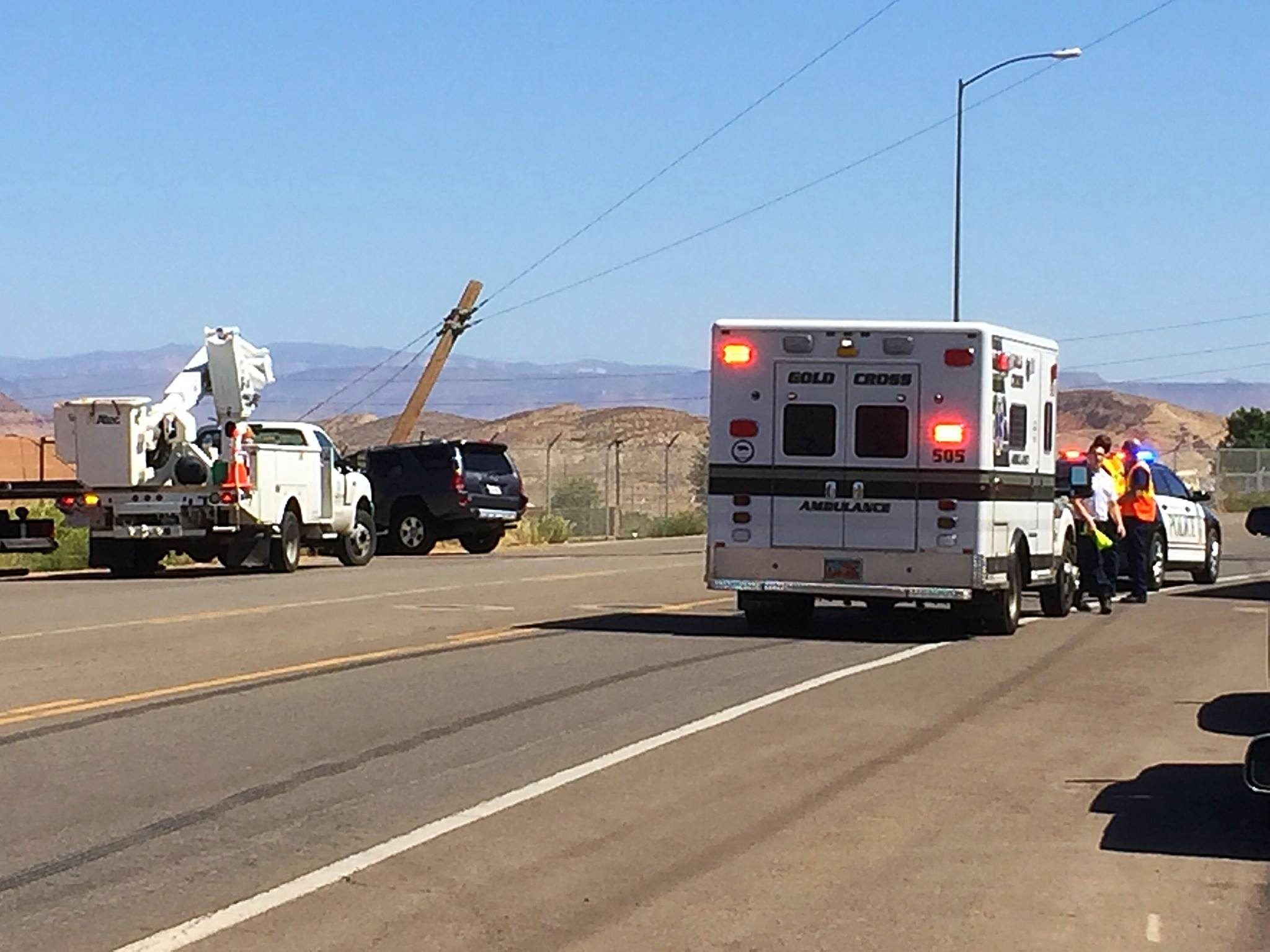 A 75-year-old man was transported to the hospital after crashing his SUV into a Washington City power pole near 1795 W. Washington Dam Road, Washington City, Utah, Sept. 8, 2016 | Photo by Kimberly Scott, St. George News