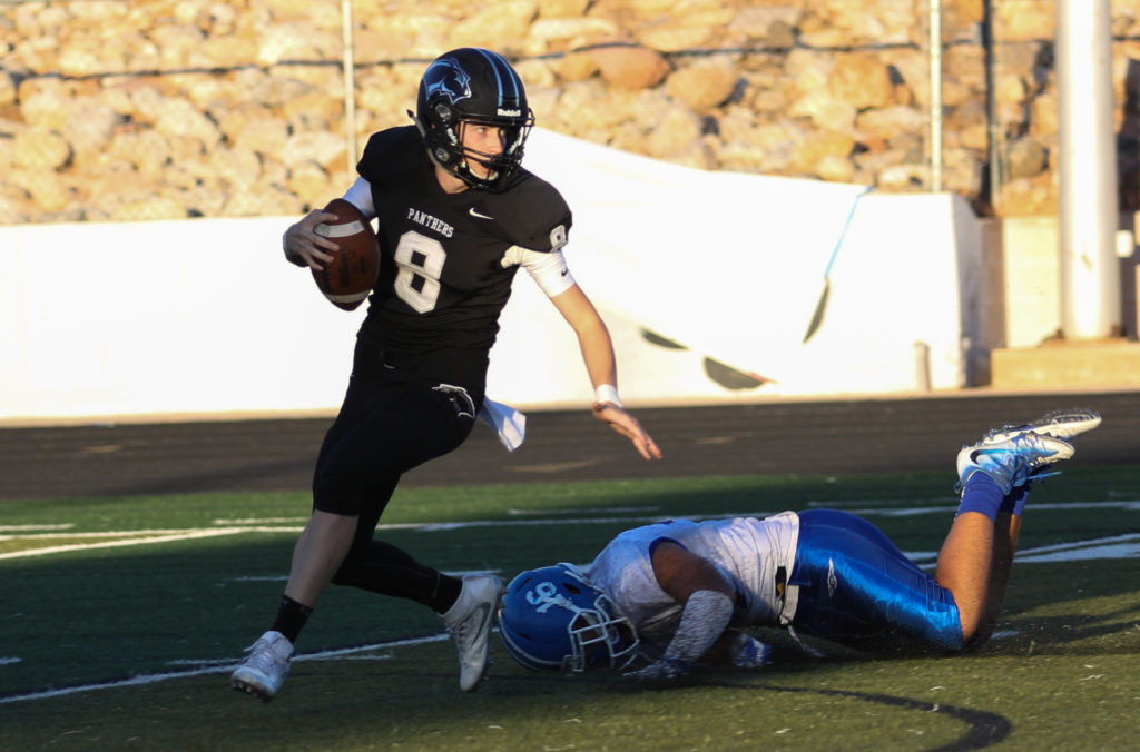 Pine View's Jacob Brann (8), And Dixie's Taylor Gower (16), Pine View vs. Dixie, Football, St. George, Utah, Sep.16, 2016, | Photo by Kevin Luthy, St. George News