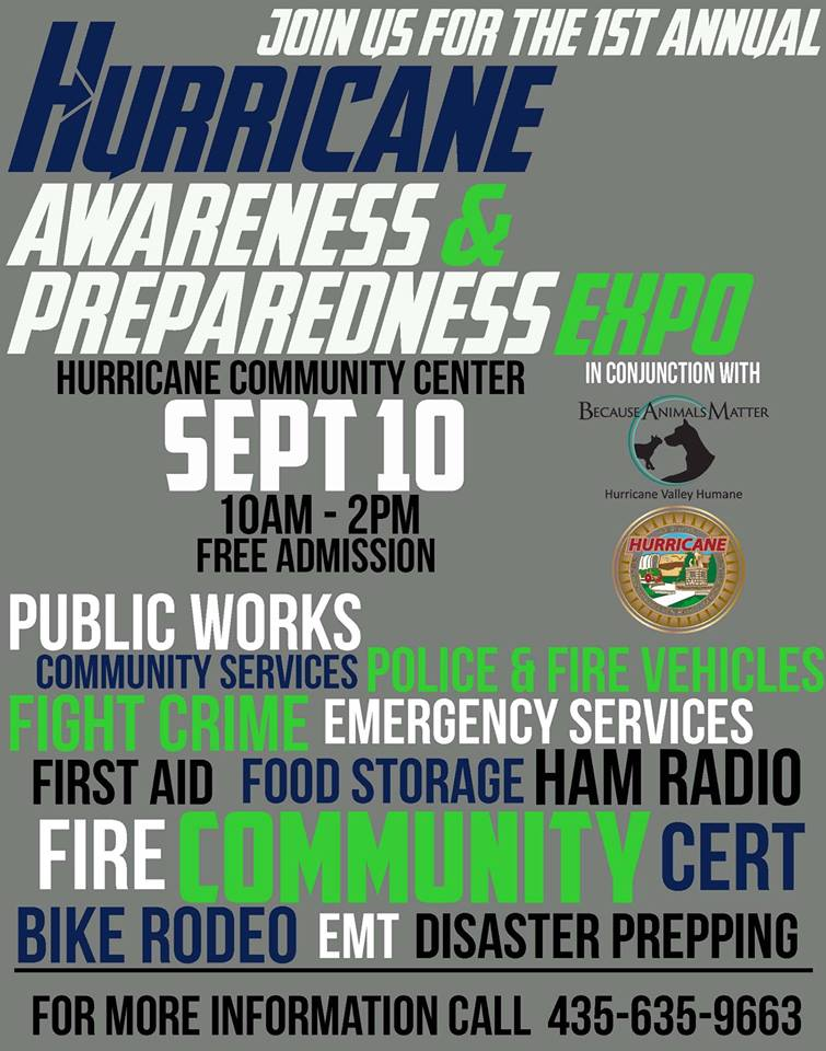 "Hurricane City Police Department ""Awareness and Preparedness Expo"" flyer, location and date not specified 