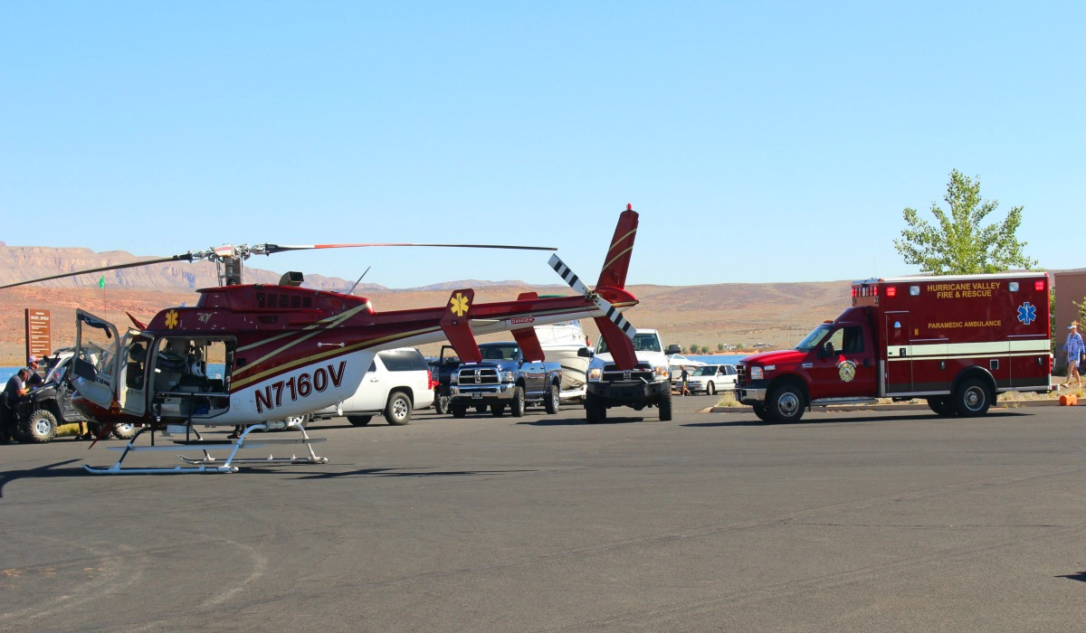 Classic Air Medical helicopter holding at Sand Hollow's main dock along with Hurricane Valley Fire District Ambulance if needed for near drowning victim, Saturday, Hurricane, Utah, Sept. 17, 2016 | Photo by Cody Blowers, St. George News