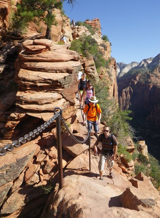 The Angels Landing Trail requires chains in some of its narrowest sections