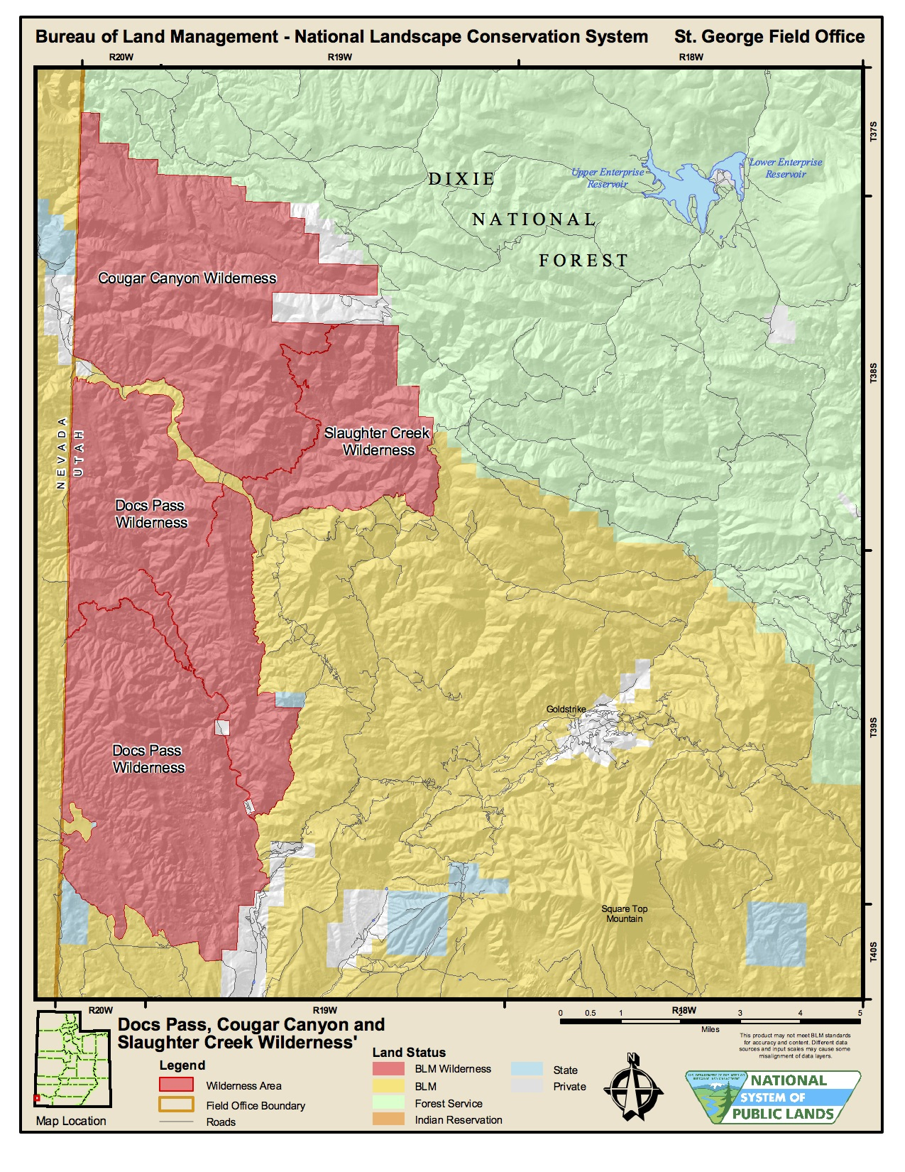 Map courtesy of Bureau of Land Management, St. George News
