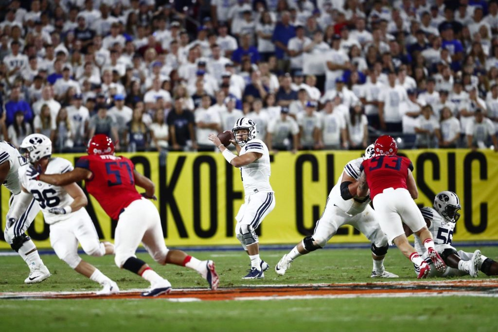 Taysom Hill, BYU vs. Arizona, Glendale, Ariz., Sept. 3, 2016 | Photo by BYU Photo/Jaren Wilkey