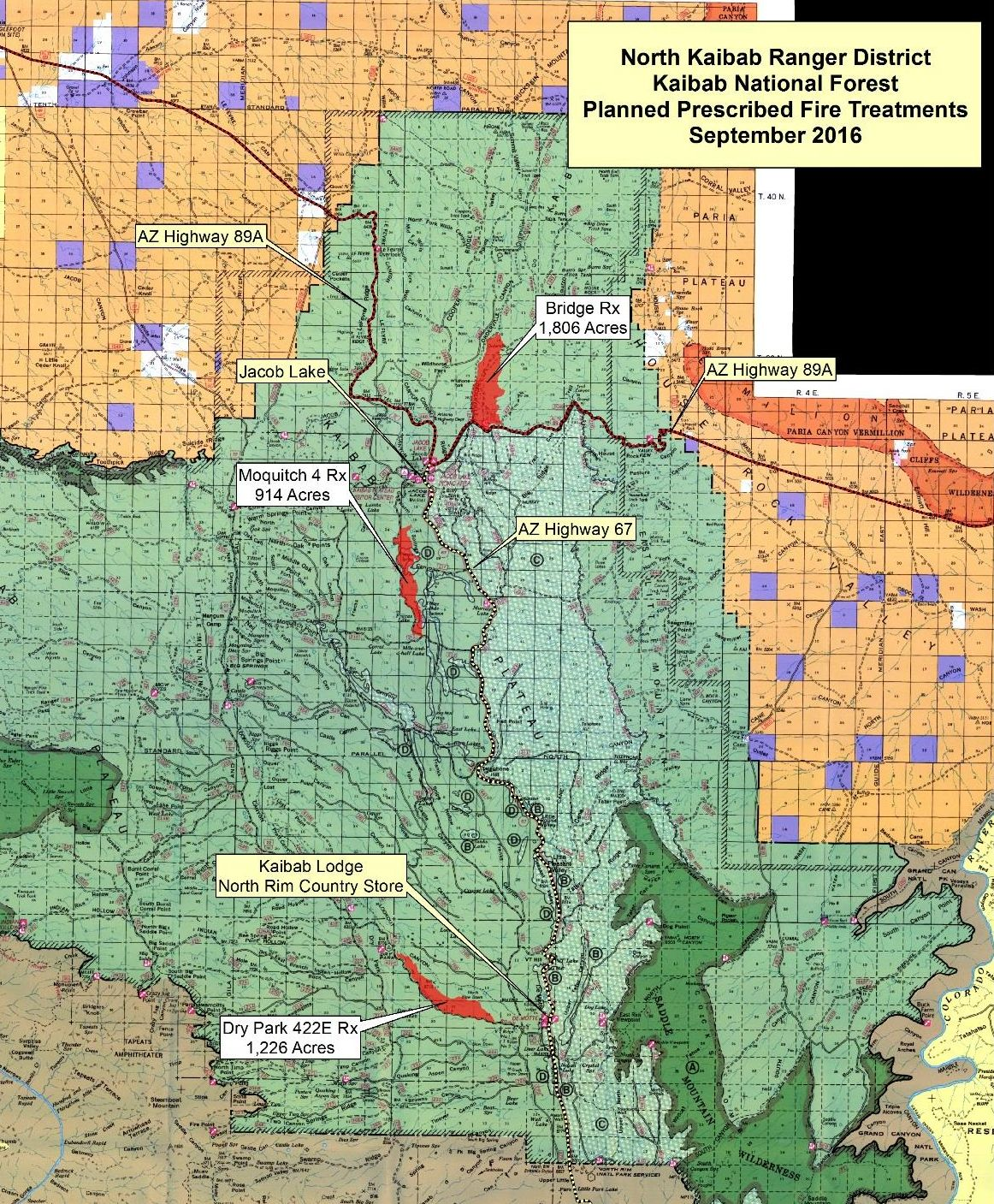 A map of Arizona showing the location of prescribed burns that are scheduled to occur. Sept. 11, 2016 | Map courtesy of Kaibab National Forest, St. George News