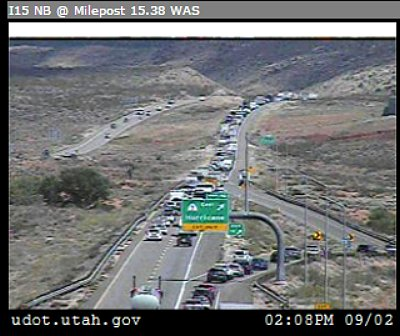 Traffic backed up on northbound I-15 due a traffic accident at milepost 19, Hurricane, Utah, Sept. 2, 2016 | Photo courtesy of the Utah Department of Transportation, St. George News