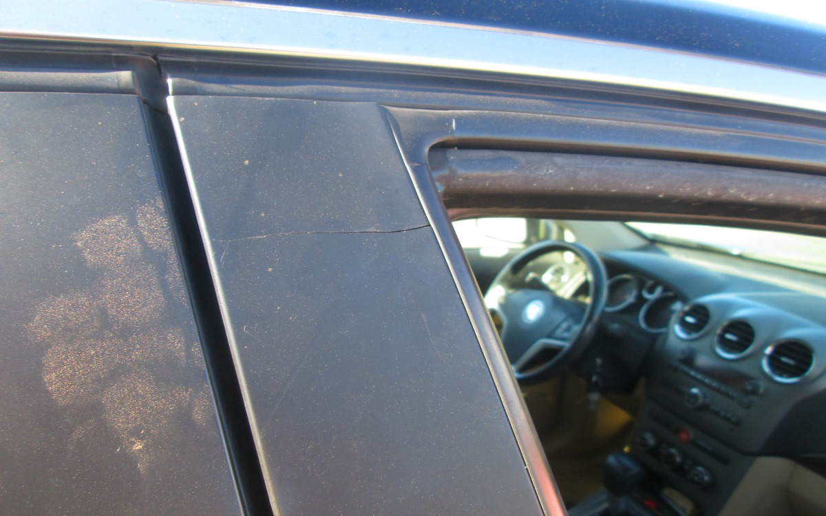 Close-up photo of a passenger window that shattered as the driver of the vehicle entered northbound Interstate 15 via the Exit 10 on-ramp, Washington County, Utah, Sept. 14, 2016   Photo courtesy of Grant Hintze, St. George News