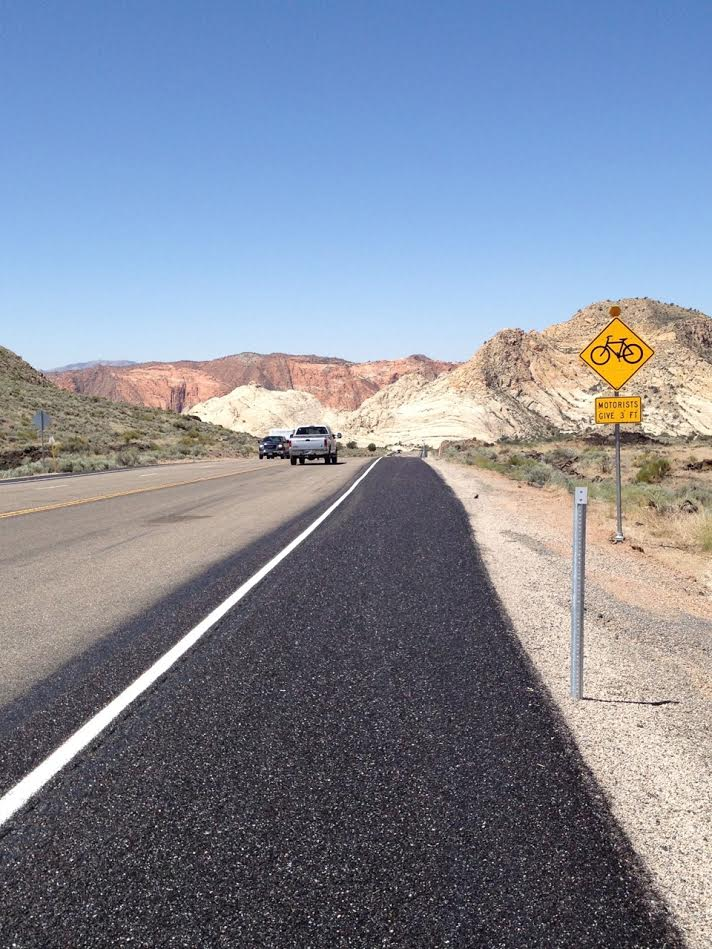 Smooth shoulder on state Route 18 after $1.6 million dollar shoulder widening project removed the ill-placed rumble strips of 2012. Washington County, Utah, 2013   Photo courtesy of Craig Shanklin, St. George News