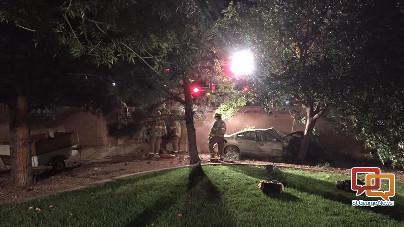 Early Morning Driver Smashes Into Backyard St George News