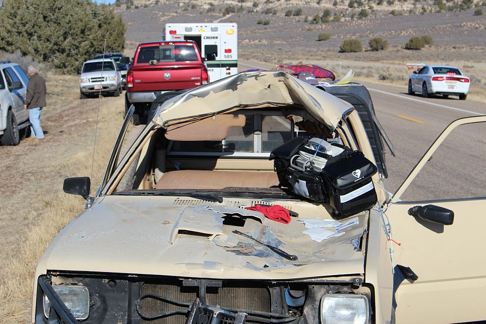 An elderly man was transported to the hospital by Life Flight after a buck jumped onto the hood of his truck on state Route 18 near milepost 14, Washington County, Utah, Dec. 2, 2015 | Photo by Ric Wayman, St. George News