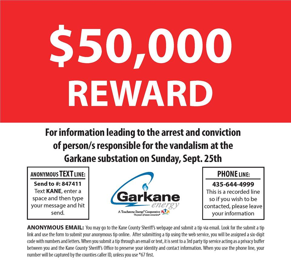 Flyer issued by Garkane Power announcing the reward. Undated | Flyer courtesy of Kane County Sheriff's Office, St. George News