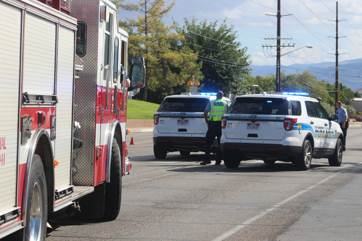 Emergency personnel responded to car vs. pedestrian accident on N. Dixie Downs Road Friday afternoon, St. George, Utah, Sept. 30, 2016 | Photo by Cody Blowers, St. George News
