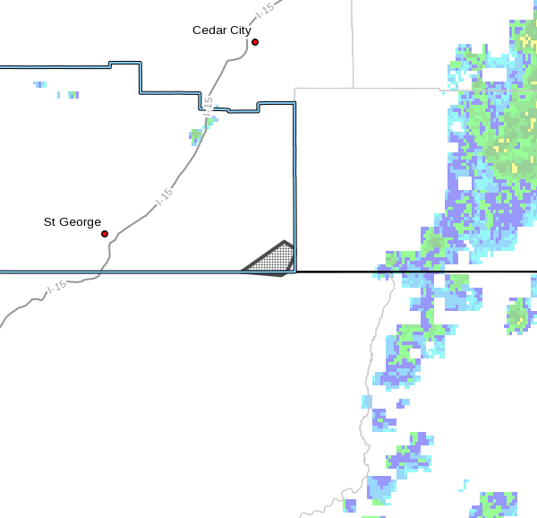Dots denote areas subject to a wind advisory issued by the National Weather Service Thursday morning in effect until 11 p.m. or as extended. Southwestern Utah, Sept. 22, 2016   Image courtesy of the NWS, St. George News