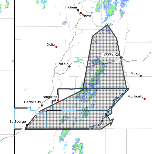 Dots denote areas subject to a flash flood warning issued by the National Weather Service Thursday morning in effect until 10:15 p.m. or as extended. eastern and southern Utah, Sept. 22, 2016   Image courtesy of the NWS, St. George News