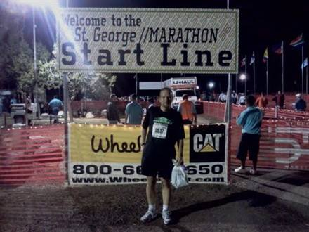 Patrick Rodgers poses at the starting line of his first St. George Marathon, Central, Utah, circa October 2011 | Photo courtesy of Patrick Rodgers, St. George News