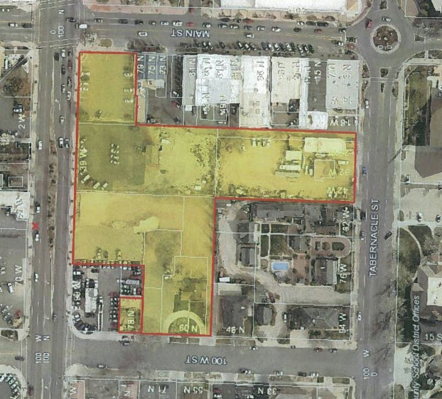 "A highlighted map of the mixed-use ""City View"" development proposed for downtown St. George at Main Street and St. George Boulevard 