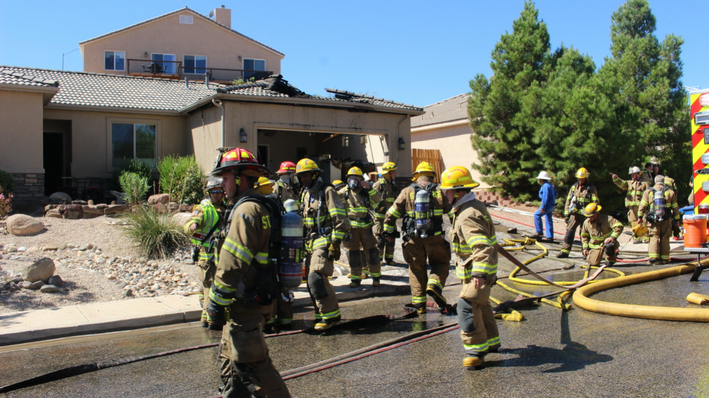 A St. George firefighter was injured when a garage door came down on him during a house fire on Lava Point Drive in St George, Utah, Sept. 19, 2016 | Photo by Mori Kessler, St. George