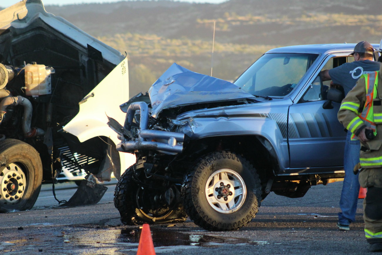 Utah Higway Patrol and other emergency responders tend to a head-on collision between a semi and a pickup truck on state Route-18, Sept. 26, 2016 | Photo by Mori Kessler, St. George News