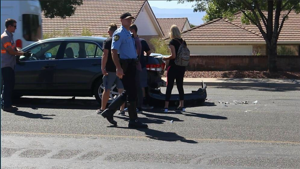 A lunch run didn't go so well for some teens when their vehicles ended up taking part in an unwanted game of bumper cars on 700 South. Two cars were stopped in the roadway while a third failed to stop in time and hit one car, causing it to hit the car in front of it, St. George, Utah, Sept. 15, 2016 | Photo by Mike Cole, St. George News