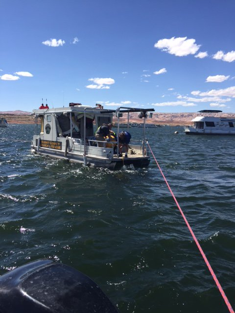 The body of an 18-month-old child presumed to have drowned was recovered from 240-feet of water in Lake Powell, Sept. 12, 2016 | Photo courtesy of San Juan County Sheriff's Office, St. George News