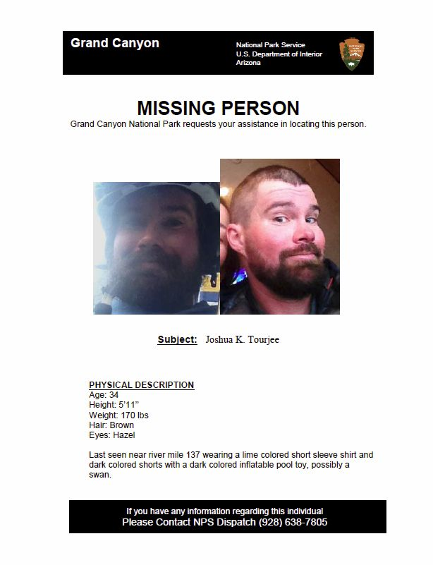 Missing person flyer issued by the National Park Service looking for Joshua Tourjee, Grand Canyon, Arizona, Sept. 12, 2016 | Photo by Ric Wayman, St. George News