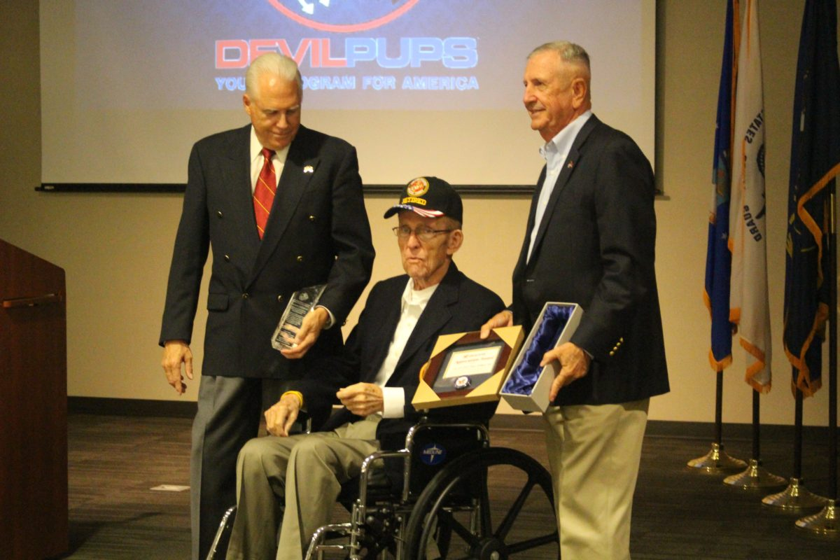 L to R - Devil Pups CEO and President Richard Linsday, U.S. Marine Lt. Col. William C. Toole and U.S. Marine Col. Ray Blum at the awards ceremony honoring the 2016 Devil Pups graduates and Lifetime Achievement Award to U.S. Marine Lt. Col. William C. Toole at the Southern Utah Veterans Home, Ivins, Utah, Sept. 23, 2016 | Photo by Cody Blowers,, St. George News