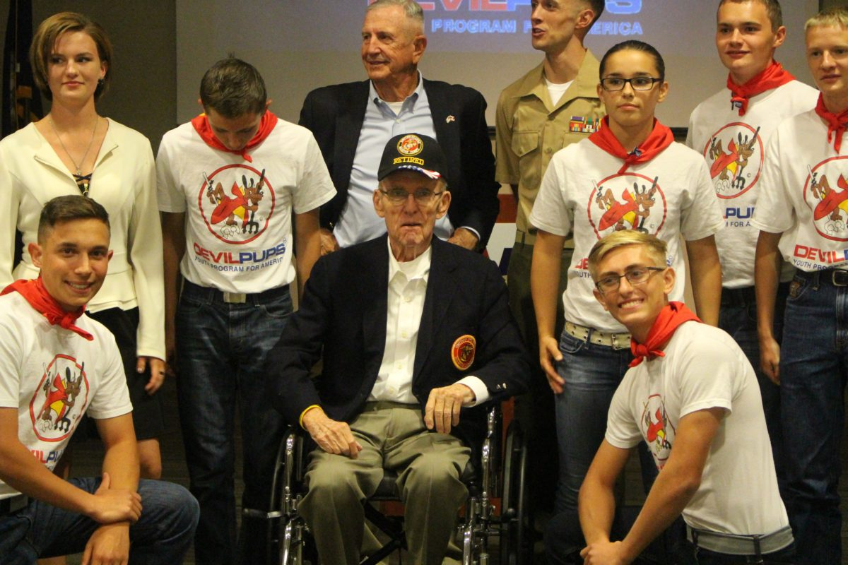 2016 Devil Pups graduates and volunteers with U.S. Marine Lt. Col. William C. Toole at awards ceremony held at the Southern Utah Veterans Home, Ivins, Utah, Sept. 23, 2016 | Photo courtesy of Bill Fortune, St. George News
