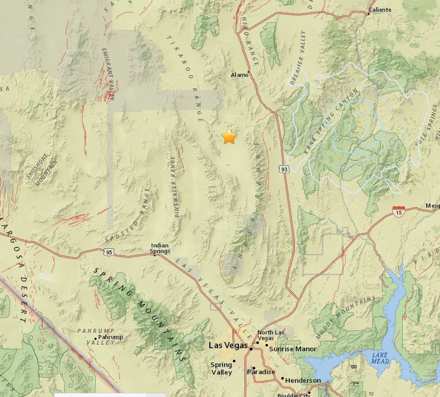 The star shows the location of a 3.1 magnitude earthquake that rattled the Nevada desert early Saturday morning. Undated. | Map courtesy of the United States Geographical Survey, St. George News