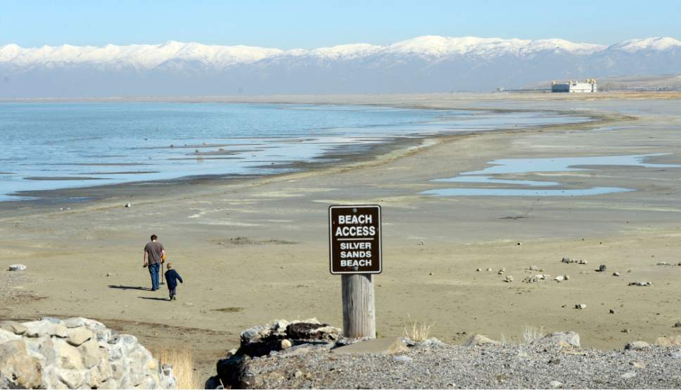 This Feb 25, 2016, file photo shows a sign at the Great Salt Lake Marina State Park in Utah. The lake has been steadily falling since 2012. The massive lake, key to the Utah's economy and identity, is skirting record low levels after years of below-average precipitation and record heat | Photo courtesy of Al Hartmann/The Salt Lake Tribune via AP, File, St. George News