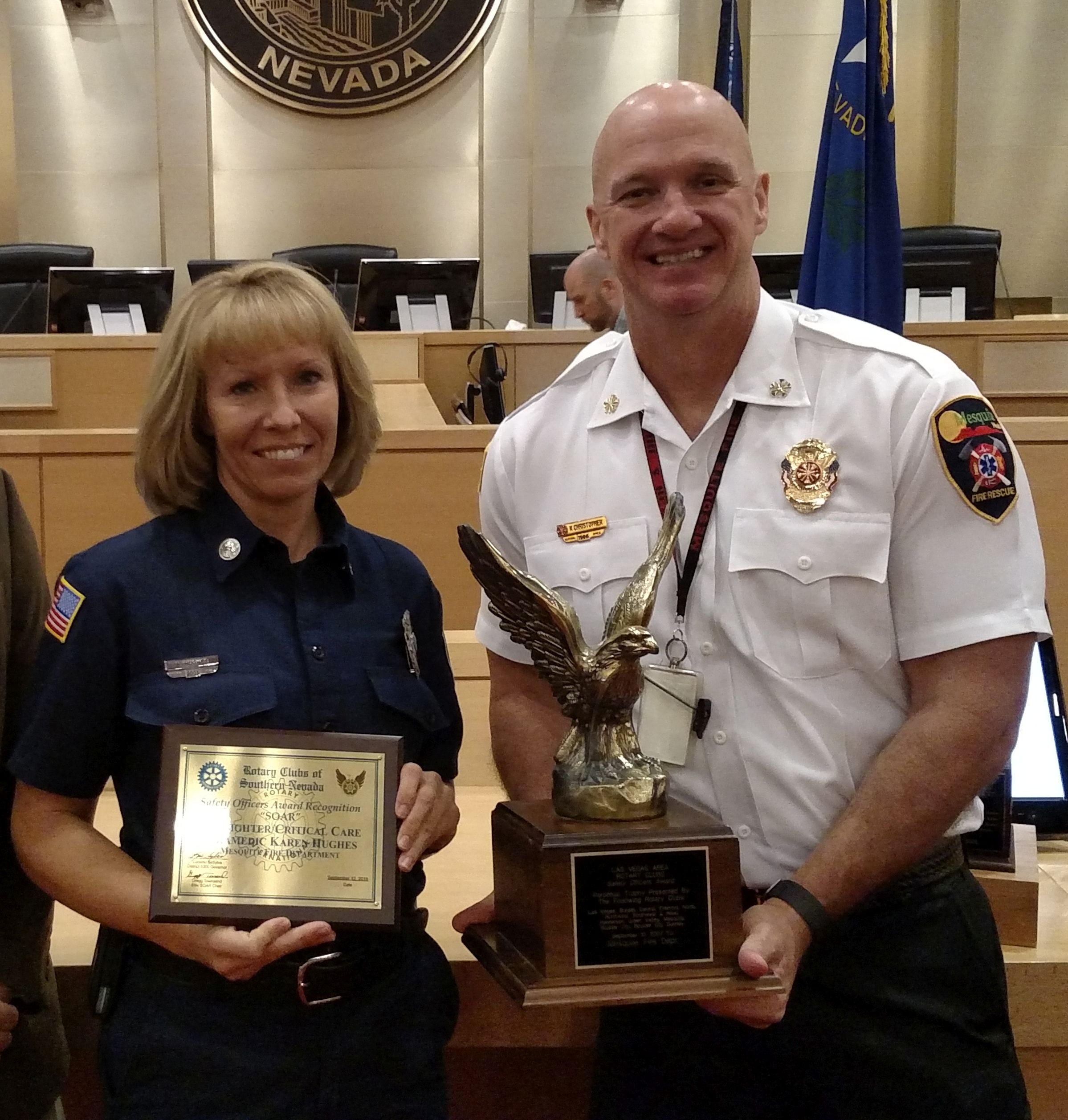 From L-R: Mesquite Firefighter/Critical Care Paramedics Karen Hughes and Jayson Andrus hold their SOAR award. Las Vegas, Nevada, undated | Photo courtesy of Mesquite Fire and Rescue, St. George News