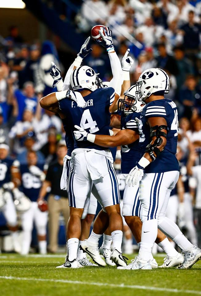 Fred Warner (4) got his first interception of the year, BYU vs. UCLA, Provo, Utah, Sept. 17, 2016 | Photo by BYU Photo