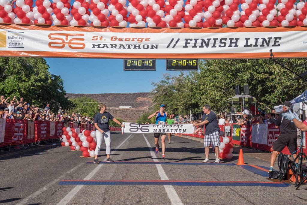 Rosy Lee crosses the finish line to win the women's event at the St. George Marathon, St. George, Utah, Oct. 1, 2016 | Photo by Dave Amodt, St. George News