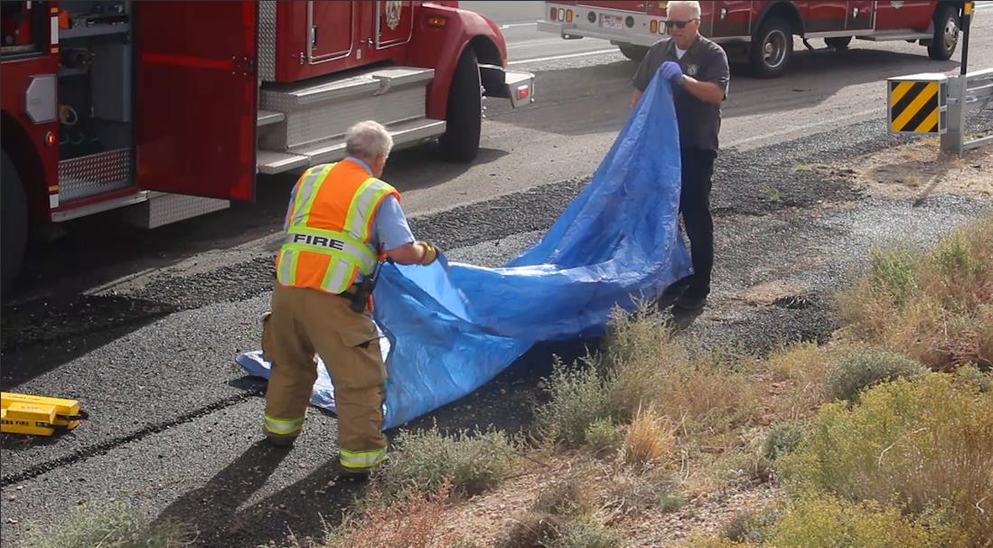 Emergency crews respond after a rollover on Interstate 15, Utah, Oct. 14, 2016 | Photo by Mike Cole, St. George News