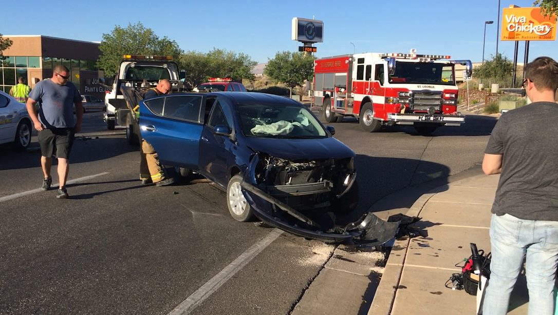 A Nissan and a Buick collided when the driver of the Nissan failed to yield after a stop sign at the intersection of 100 South and 1200 East, St. George, Utah, Oct. 18, 2016 | Photo by Mike Cole, St. George News