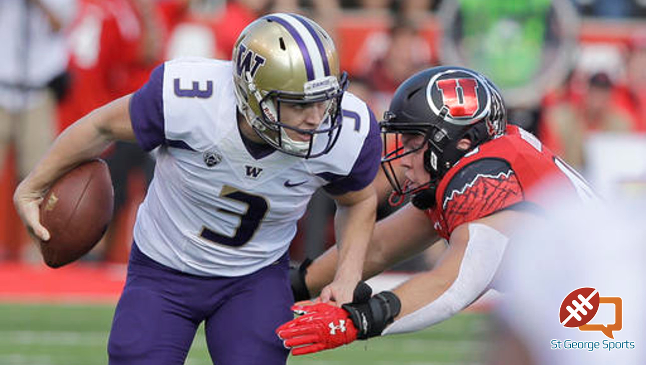 Washington quarterback Jake Browning (3) carries the ball as he looks down field in the first half of an NCAA college football game against Utah, Saturday, Oct. 29, 2016, in Salt Lake City. (AP Photo/Rick Bowmer)