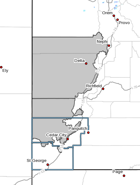 Map showing the area of the wind advisory October 15, 2016   Map courtesy of the National Weather Service, St. George News