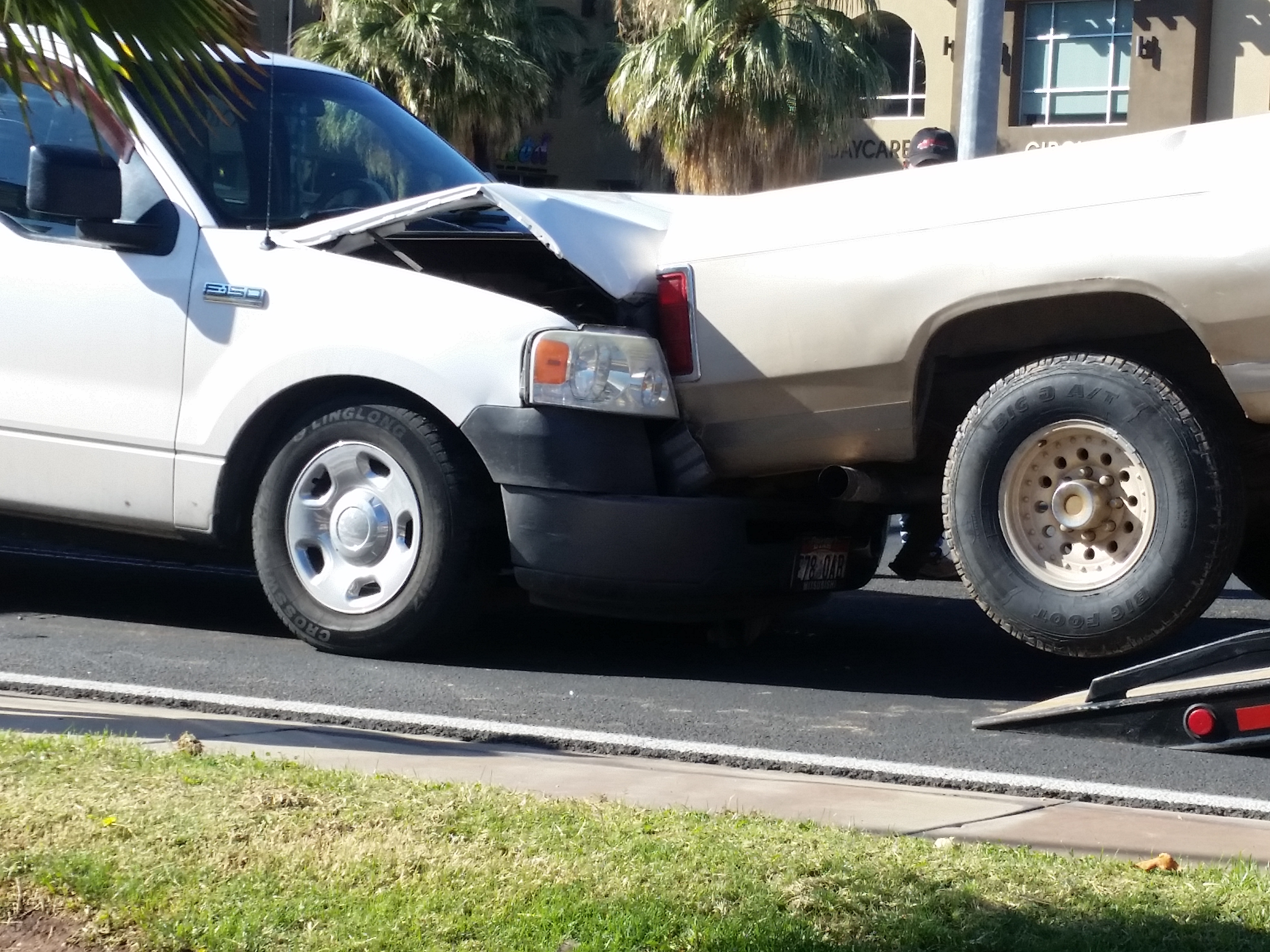 A rear-end crash on Bluff Street Tuesday morning damaged two trucks and left the drivers with minor injuries, St. George, Utah, Oct. 25, 2016 | Photo by Julie Applegate, St. George News