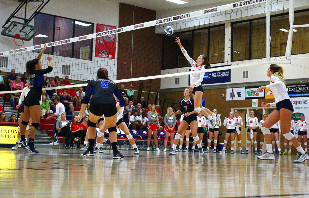 Dixie State's Delayne Daniel (2), Dixie State University vs. Chaminade University, Volleyball, St. George, Utah, Oct. 1, 2016, | Photo by Megan Hoppie, ASPpix.com, St. George News