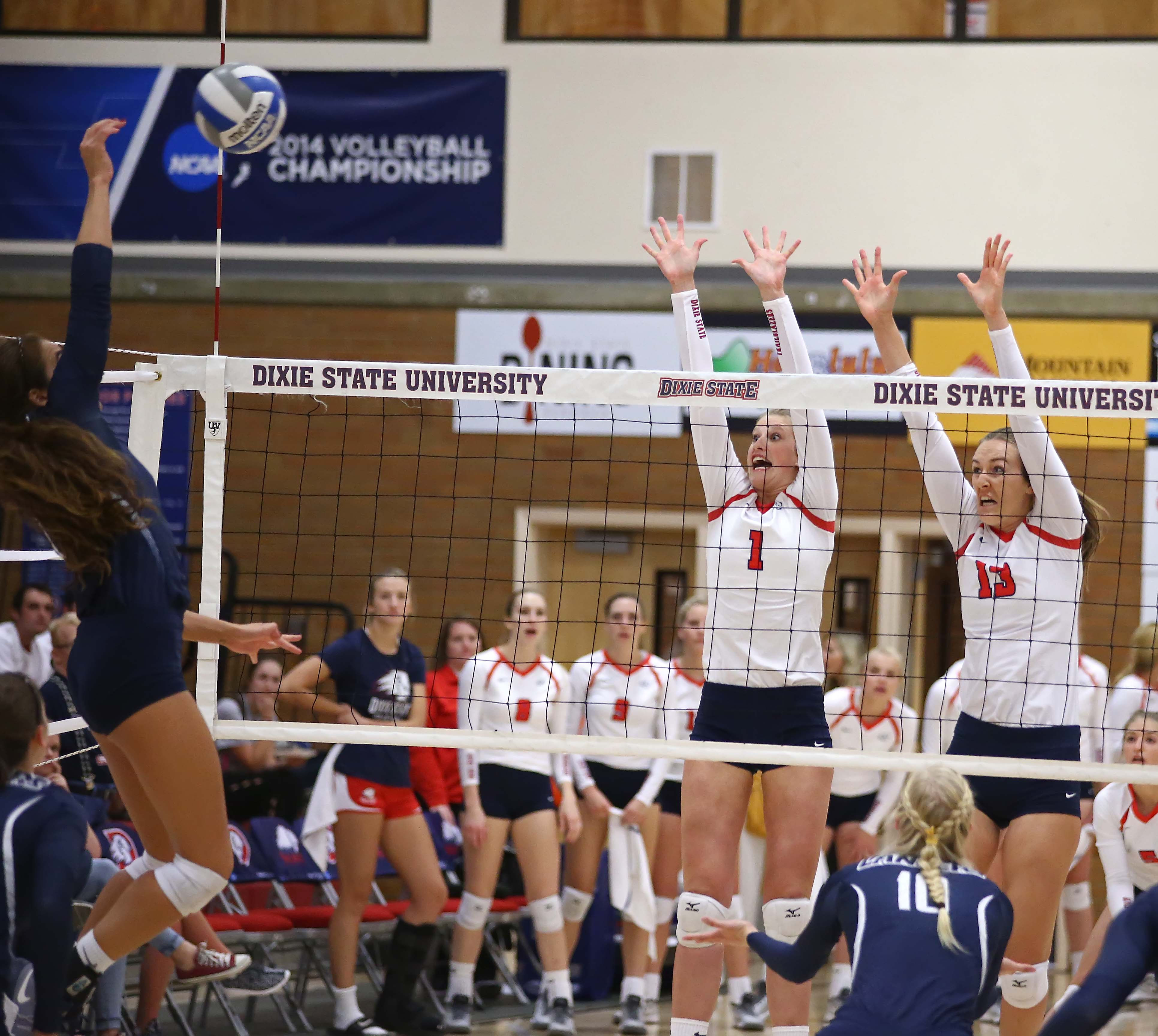 Dixie State's Kailey Frei (1) and Kayla Chapman (13), Dixie State University vs. California Baptist University, Volleyball, St. George, Utah, Oct. 22, 2016, | Photo by Robert Hoppie, ASPpix.com, St. George News